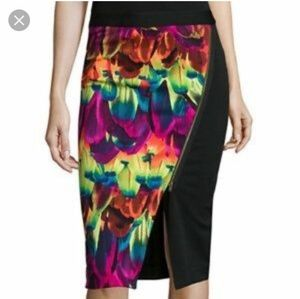 NWT Worthington black colorful pencil zip skirt